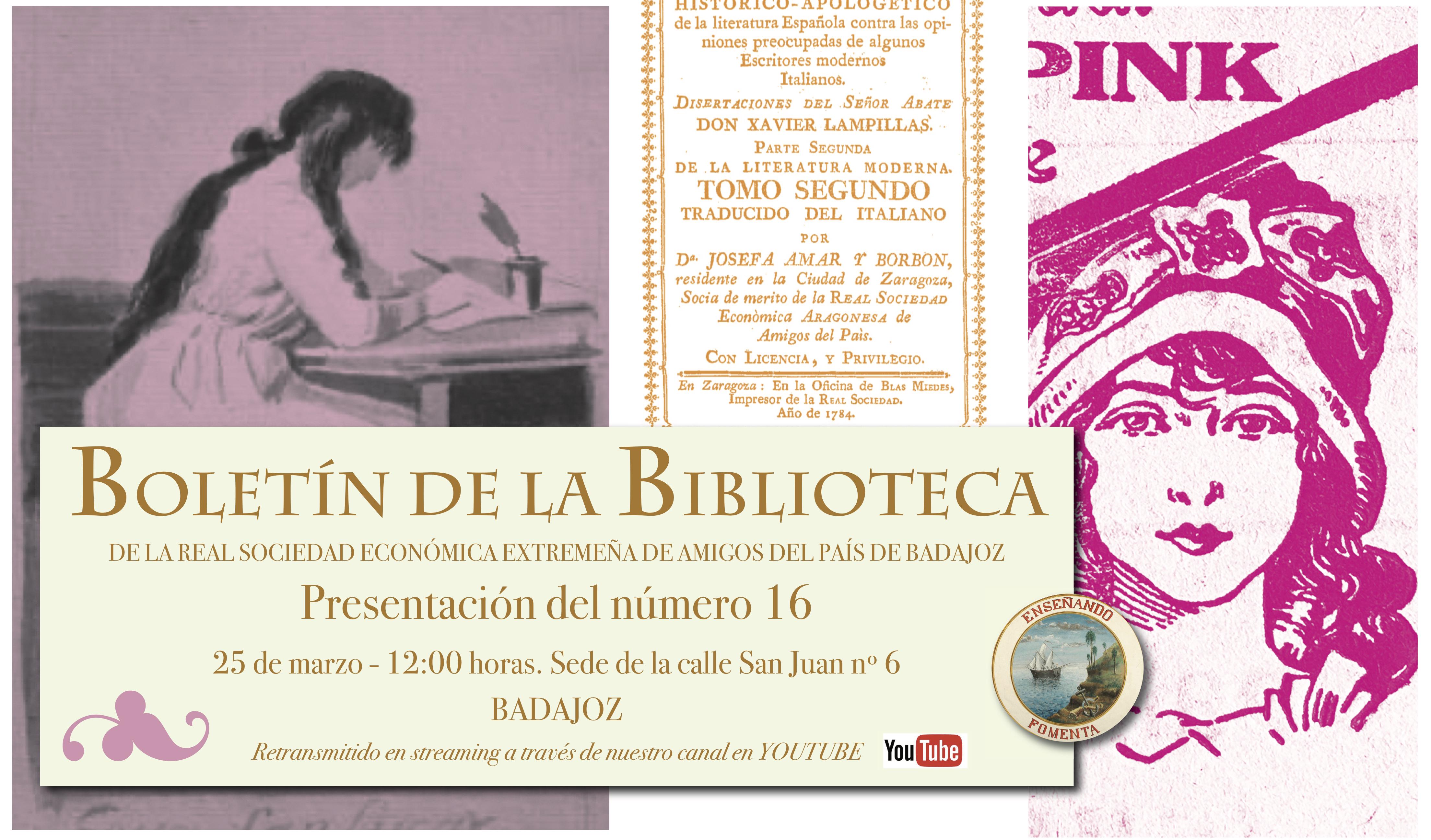 Cartel anunciador de la presentación del Número 16 del Boletín de la Biblioteca de la Real Sociedad Extremeña de Amigos del País